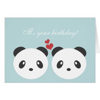 Carte d'anniversaire mignonne de panda