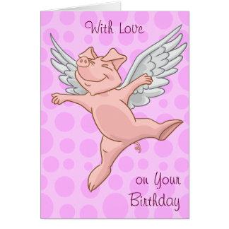 Carte d'anniversaire mignonne de porc de vol