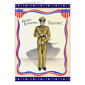 Carte d'anniversaire militaire vintage