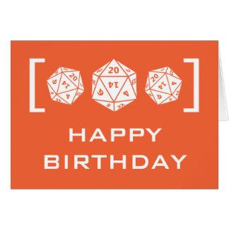 Carte d'anniversaire orange de Gamer des matrices