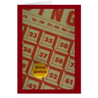 Carte d'anniversaire orientée de bingo-test mignon