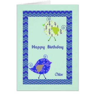Carte d'anniversaire pour Chloe, oiseaux de