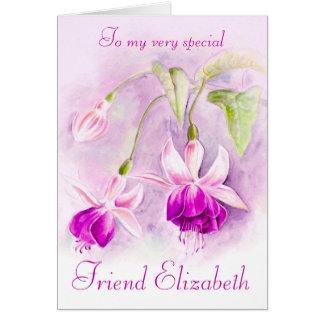 Carte d'anniversaire rose pourpre florale fuchsia