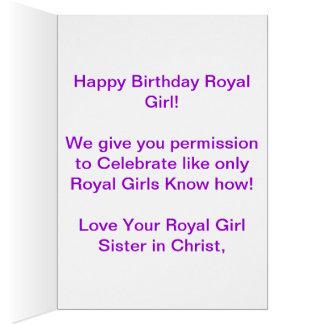 Carte d'anniversaire royale de fille