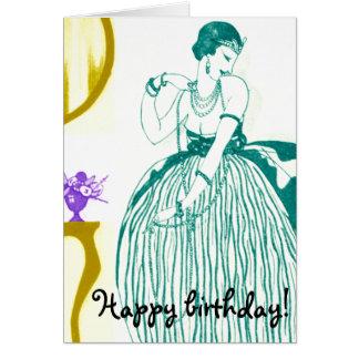 Carte d'anniversaire turquoise vintage de miroir