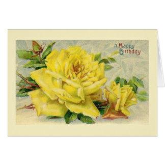 Carte d'anniversaire victorienne de rose jaune