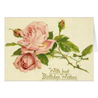 Carte d'anniversaire victorienne vintage de roses