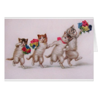 Carte d'anniversaire vintage - chatons avec des