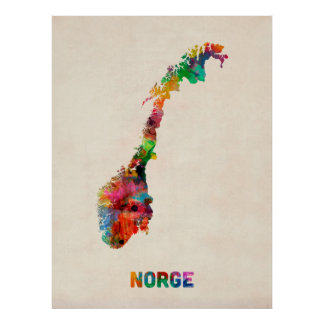 Carte d'aquarelle de la Norvège