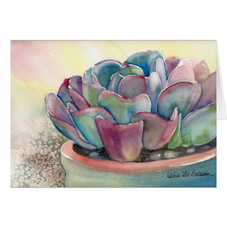 Carte d'aquarelle d'Echeveria par Debra Lee