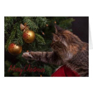 Carte d'arbre de chat de Joyeux Noël - MASQUEZ À