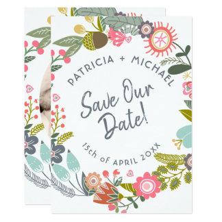 Carte Date d'économies de photo de fleurs de pré de