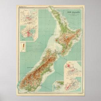 Carte d'atlas de la Nouvelle Zélande