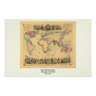 carte de 1850's d'Empire Britannique dans le monde