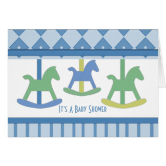 Carte de baby shower de collection de carrousel de