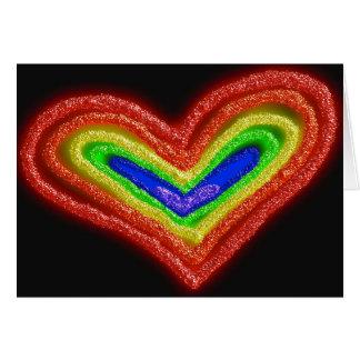 Carte de bat mitzvah de coeur d'arc-en-ciel