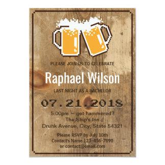 Carte de bière de pixel et en bois drôle carton d'invitation  12,7 cm x 17,78 cm
