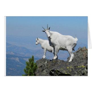 Carte de bonne chance avec la chèvre de montagne