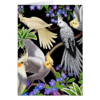 Carte de Cockatiels et de fleurs