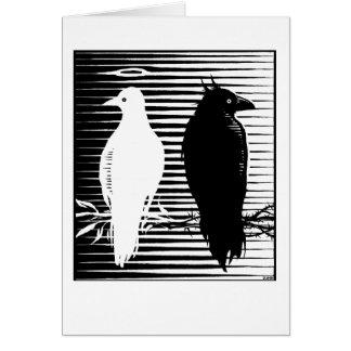 carte de colombe et de corbeau