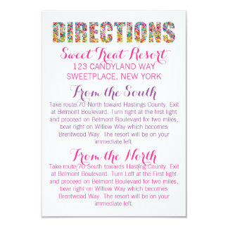 Carte de DIRECTIONS de thème de sucrerie Carton D'invitation 8,89 Cm X 12,70 Cm