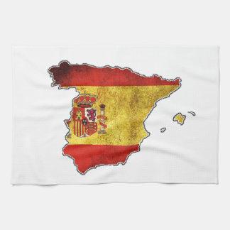 Carte de drapeau de l'Espagne Serviette Éponge