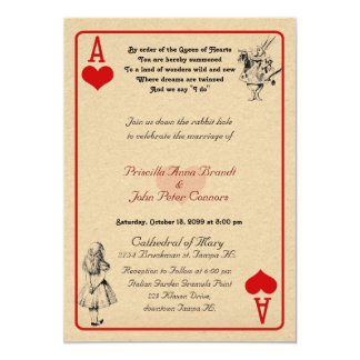 """Carte de faire-part de mariage """"Alice au pays des"""