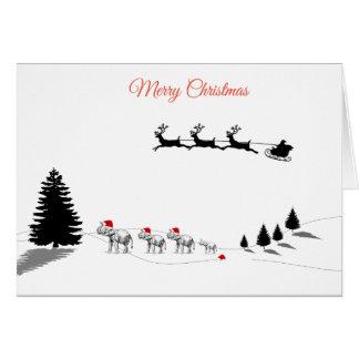 Carte de famille d'éléphant de Joyeux Noël