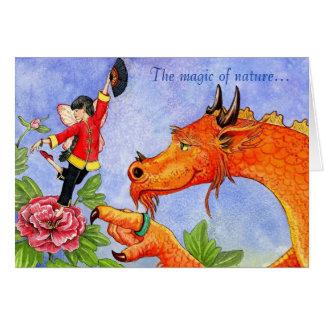 Carte de fée de dragon et de pivoine