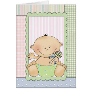 Carte de félicitations : Bébé avec un hochet
