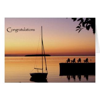 Carte de félicitations de silhouette de coucher du