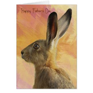 Carte de fête des pères avec les lièvres sauvages
