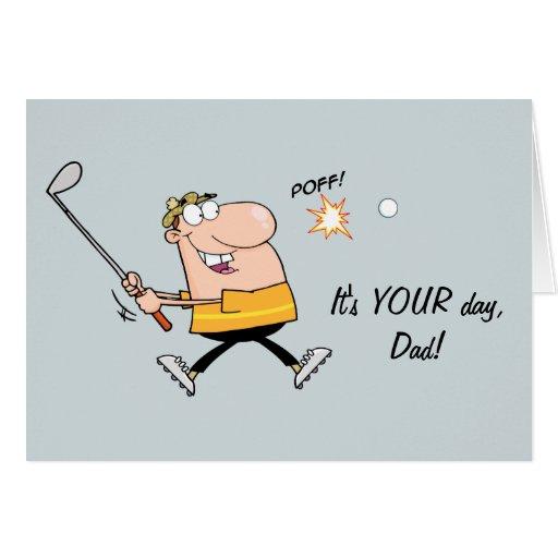 Carte de fête des pères de golf de bande dessinée