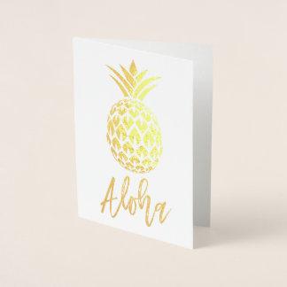 Carte de feuille d'or Aloha avec le motif d'ananas