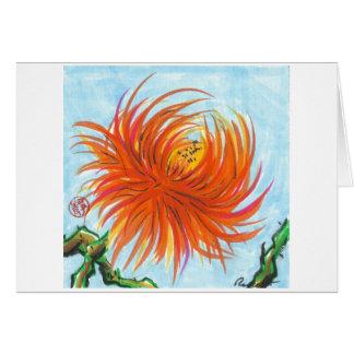 Carte de fleur de chrysanthème d'éclat d'orange