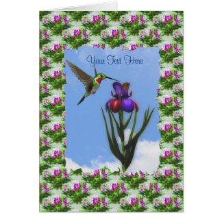 Carte de fleur d'iris de colibri