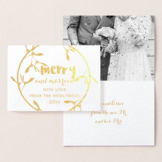 Carte de gui d'or joyeuse et mariée de photo