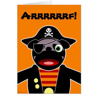Carte de Halloween de carlin de pirate