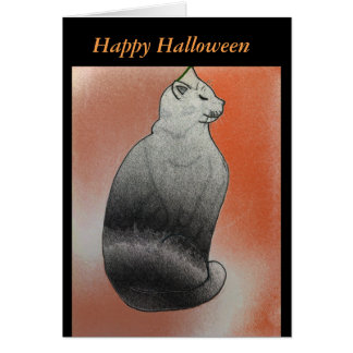 Carte de Halloween de chat noir