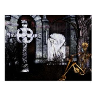 carte de Halloween de cimetière
