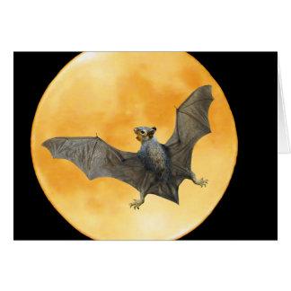 Carte de Halloween de lune d'écureuil de batte