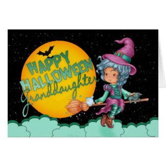 carte de Halloween de petite-fille avec la
