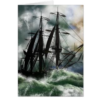 Carte de jour de Columbus avec le bateau peint par