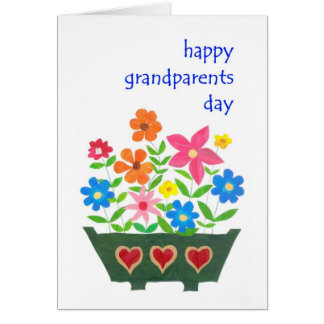 Carte de jour de grands-parents - flower power