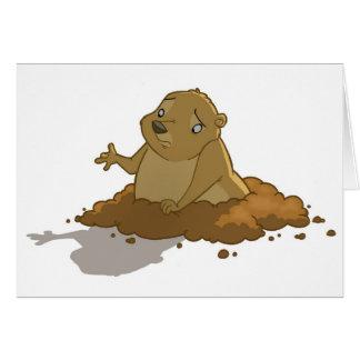 Carte de jour de Groundhog (blanc)