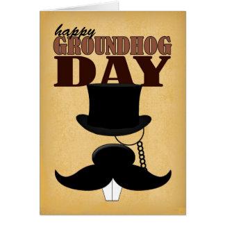 Carte de jour de Groundhog de moustache de