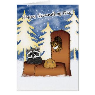 Carte de jour de Groundhog - Groundog, Racoon,