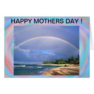 Carte de jour de mères d'arc-en-ciel de bord de la