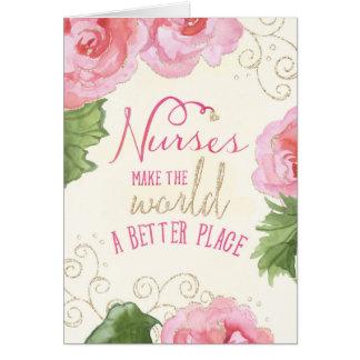 Carte de jour d'infirmières - bégonias et