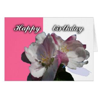 carte de joyeux anniversaire de fleur de pomme